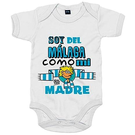 Body bebé soy del Málaga como mi madre Jorge Crespo Cano - Blanco, 6-