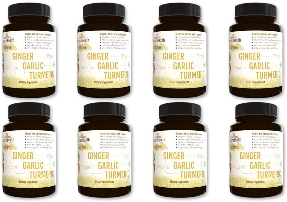 Botaniceutics GG T – Organic Ginger, Garlic and Turmeric – 720 Capsules – 8 Bottles – 500 mg – Circulatory Health from Natural Ginger, Turmeric Curcumin and Garlic Allium.