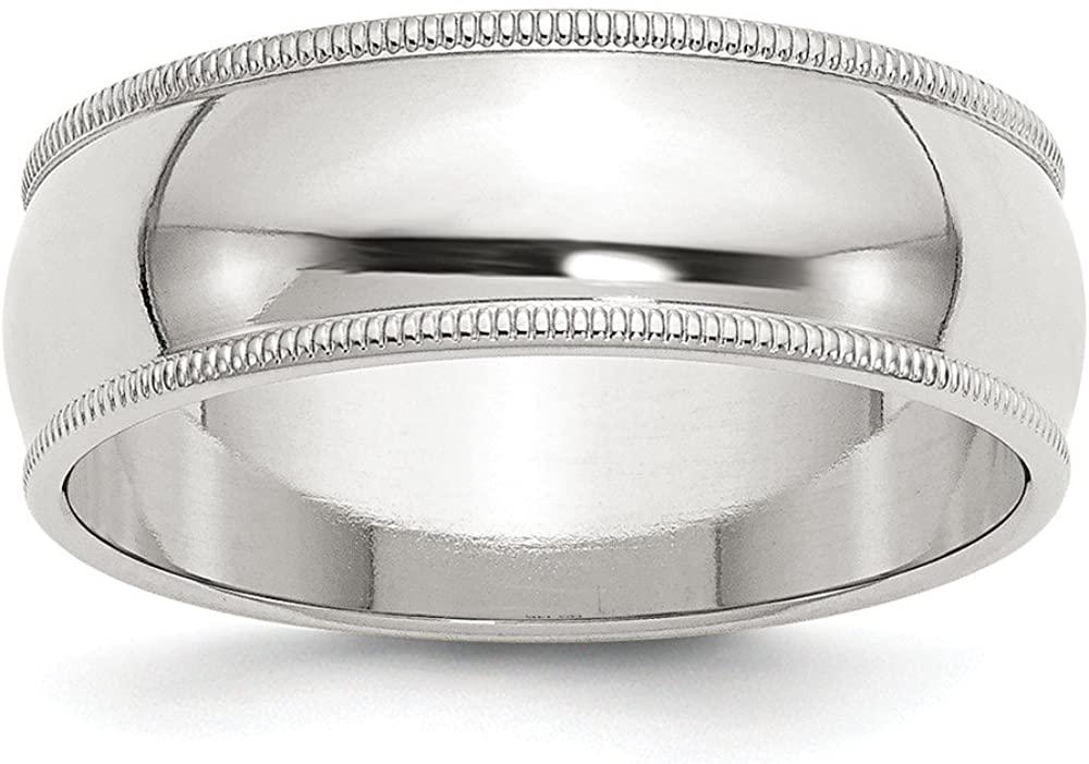 Solid 925 Sterling Silver 7mm Milgrain Plain Classic Traditional Wedding Band Ring (7mm)