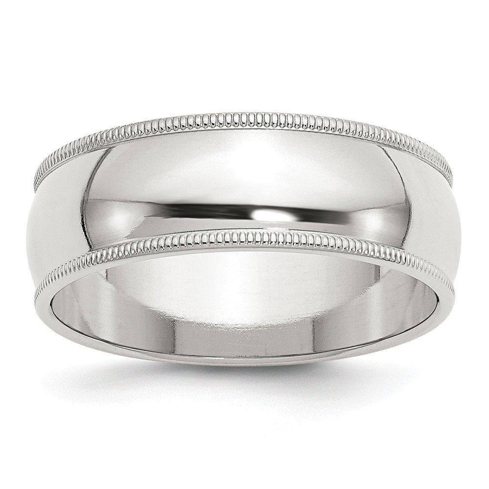 Solid 925 Sterling Silver 7mm Half Round Milgrain Wedding Band