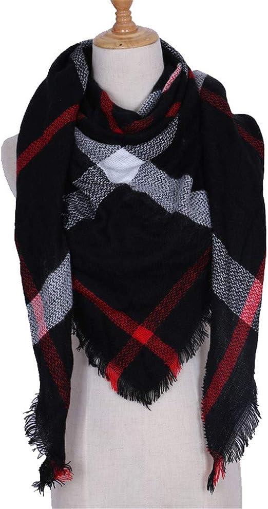 TALLA 210. AiNaMei Chaleco de cuadros de bufanda de cachemira cálido otoño e invierno para mujer