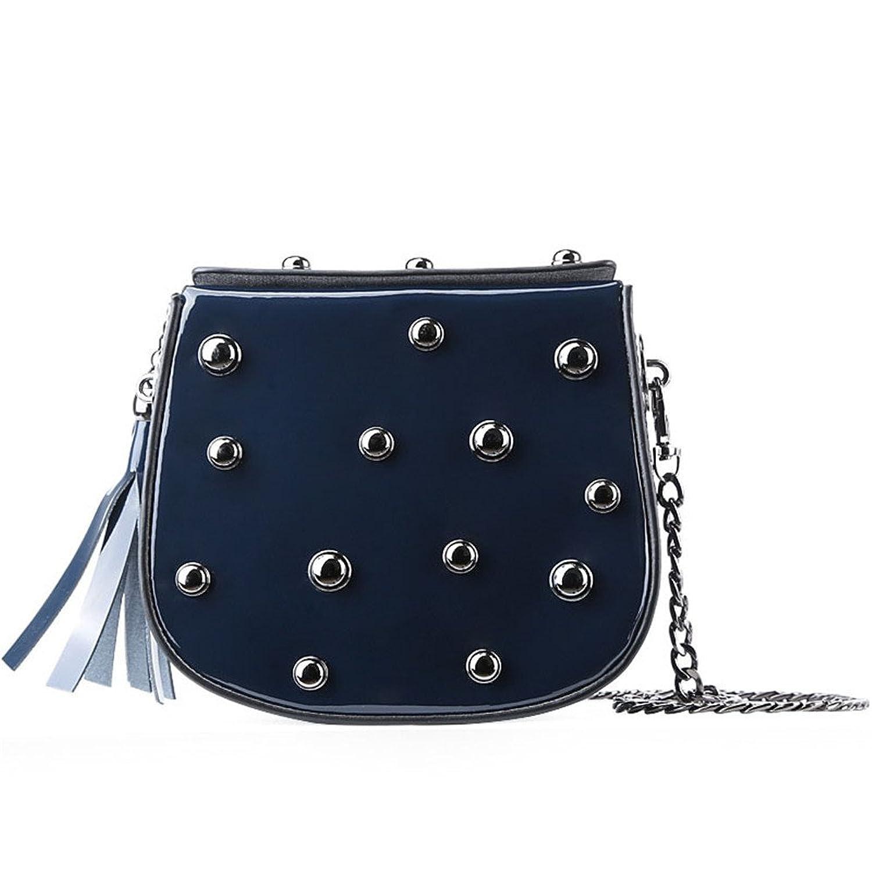13781a5579 2018 women genuine leather bag fashion rivet small square bag slanted shoulder  bag