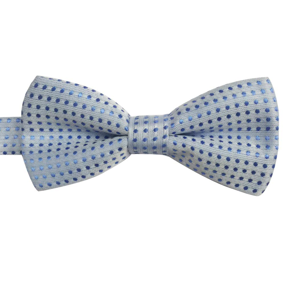 Boys Kids Children Solid Color Satin Pre-tied Bow Ties Polka dots Bowties Grey White Dots