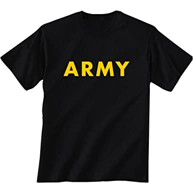 Amazon.com: Black ARMY Short Sleeve T-Shirt with gold print: Clothing