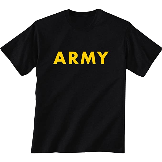 a877eb01 Black ARMY Short Sleeve T-Shirt with gold print - X-Large   Amazon.com