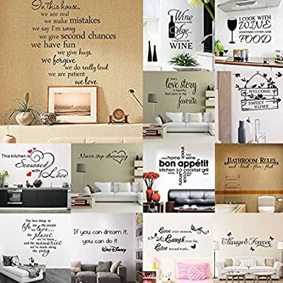 uxcell PVC Home Removable DIY Letter Pattern Wall Decoration Art Sticker Decal