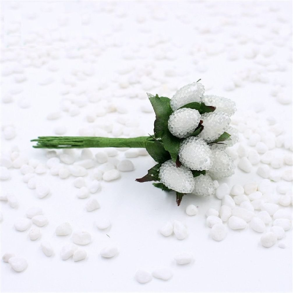 10個入り小さなガラスBerries人工ストロベリーフラワーレッドチェリーStamenウェディングガラスザクロ装飾ギフトDIY花輪 One Size ホワイト SHRZH32831935189-6 B0792XL18K ホワイト