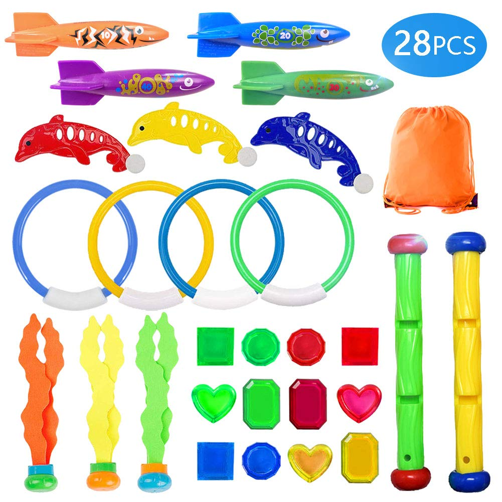 UNGLINGA Diving Swimming Pool Toys Set Underwater Toy Rings Torpedo Bandits Diving Sticks Pirate Treasures Diving Dolphins Seaweed for Kids Boys Girls