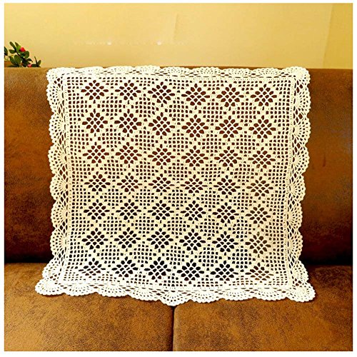WCHUANG Crochet Cotton Square Tablemat Sofa Cover Table Cloth Doily Tablecloths, 23.6