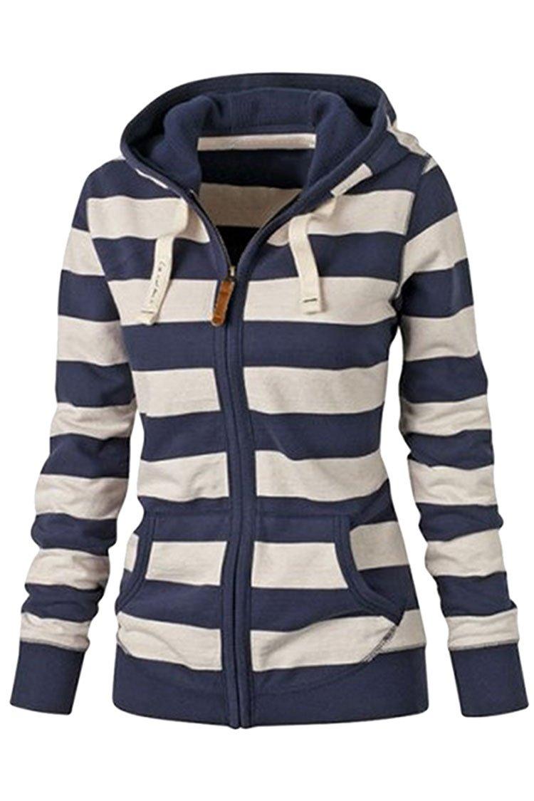 KAKALOT Women Fashion Zip Up Striped Hooded Sweatshirts Hoodies Jacket M Blue