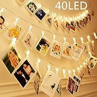 40 LEDs Clips Photos Guirlande Lumineuse Blanc Chaud, SiFar 5M 3 Modes Photo Chaîne Légère Avec Batterie, Pour Mémos Photo, Oeuvres, Fête, Décoration, Mariage
