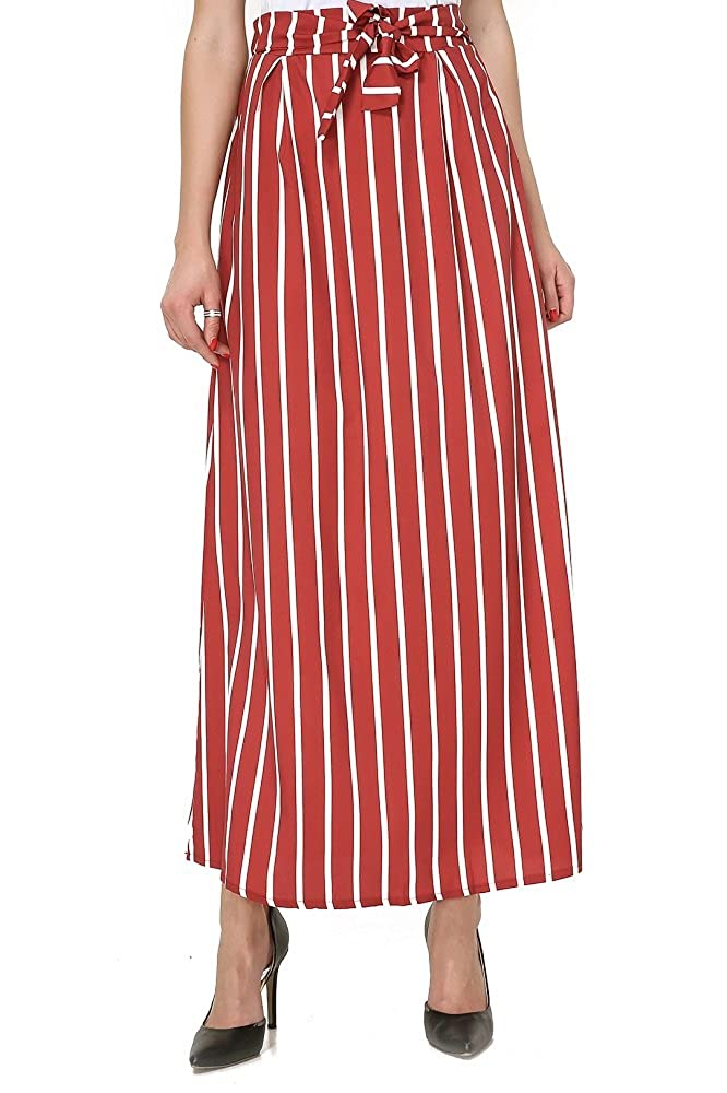 Wine Red Moxeay Women Vintage Stripe High Waisted Long Maxi Skirts with Pocket