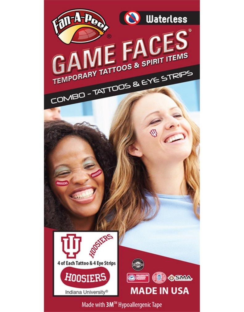 Indiana University (IU) Hoosiers - Waterless Peel & Stick Temporary Tattoos - 12-Piece Combo - 4 White/Crimson IU Logo & 4 Crimson Hoosiers Spirit Tattoos & 4 White Hoosiers on Crimson Eye Strips