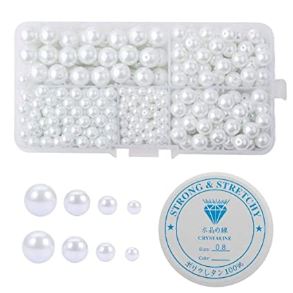 Amaney 440 pcs 4-10mm Satin Luster Glass Pearl Beads Round White with 1mm Hole and 1 Roll Elastic Crystal String Cord for Jewelry Making Bracelets Necklaces Key Chains and Kids Jewelry