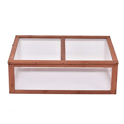 020a5bcbc3 Image Unavailable. Image not available for. Color  LHONE Garden Portable Green  House Wooden Cold Frame Raised Plants Bed Protection Outdoor ...