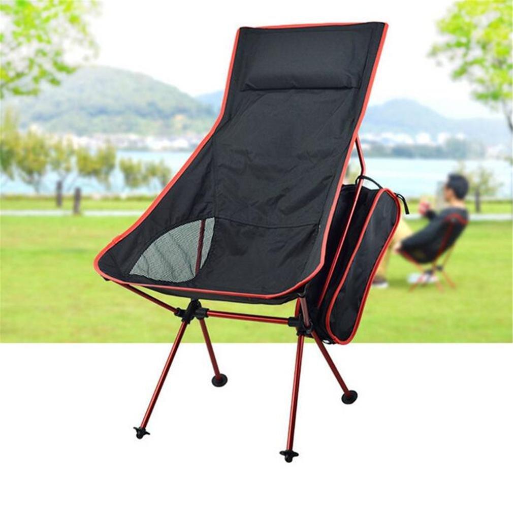 TTYY Klappstuhl im Freien verlängern Mond Stuhl mit Kissen Angeln Camping Strand Freizeit