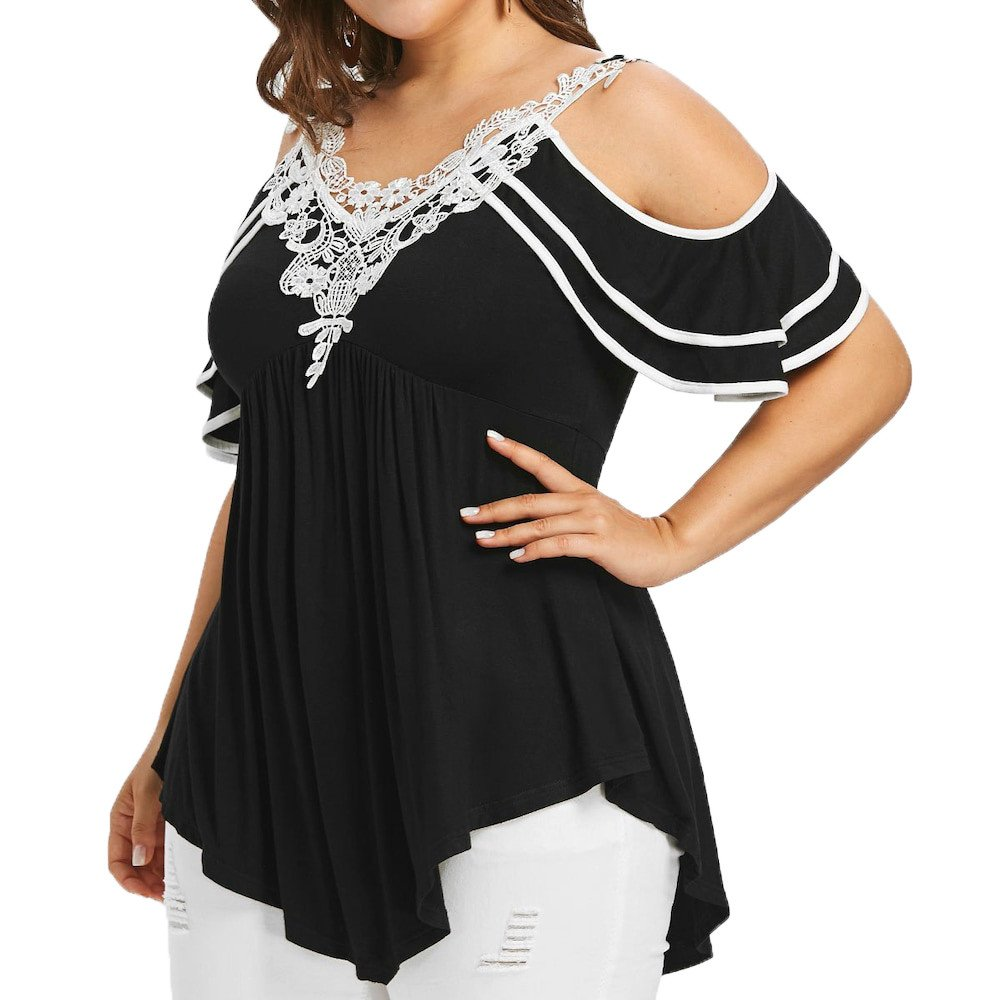 Womenss Plus Size Tiered Lace Appliques Short Sleeves Off The Shoulder Tops Blouse Missli Shirts Clearance