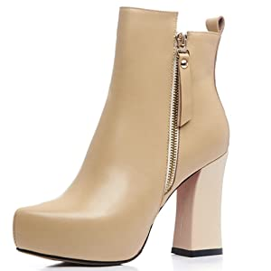 Nine Seven Genuine Leather Women's Pointed Toe Chunky Heel Platform Zip Handmade Ankle Bootie (10, camel)
