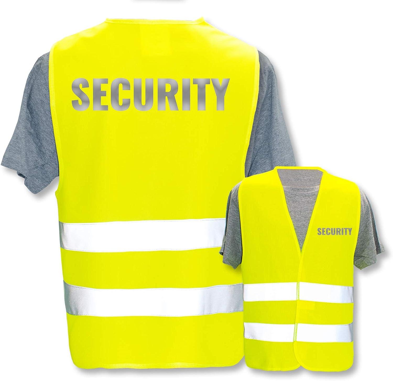 Gr/ö/ße:Gelb 3XL//4XL Bedruckte Warnwesten mit ISO-Leuchtstreifen * Standard- oder Reflex-Druck * Thema Sicherheit /& Team Warnweste Begriffe Security:Security Farbe