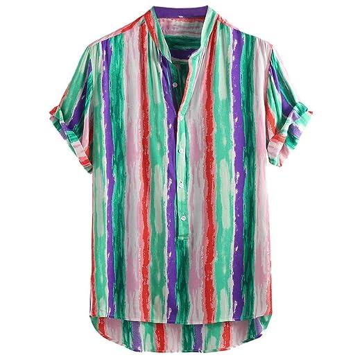 d101b9abc6c82 JJLIKER Men's Colorful Striped Henley Shirt Casual Button Down Short ...
