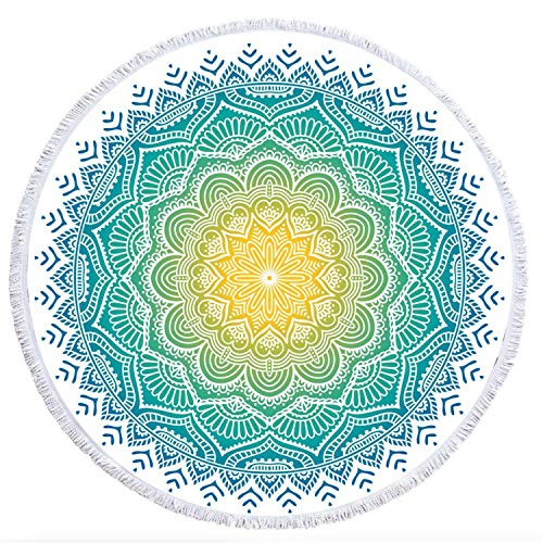 """Thick Round Beach Towel Blanket, 100% Microfiber Terry Large Beach Roundie Circle Picnic Carpet with Tassel for Girls/Women 59"""" (Special Bohemia Series)"""