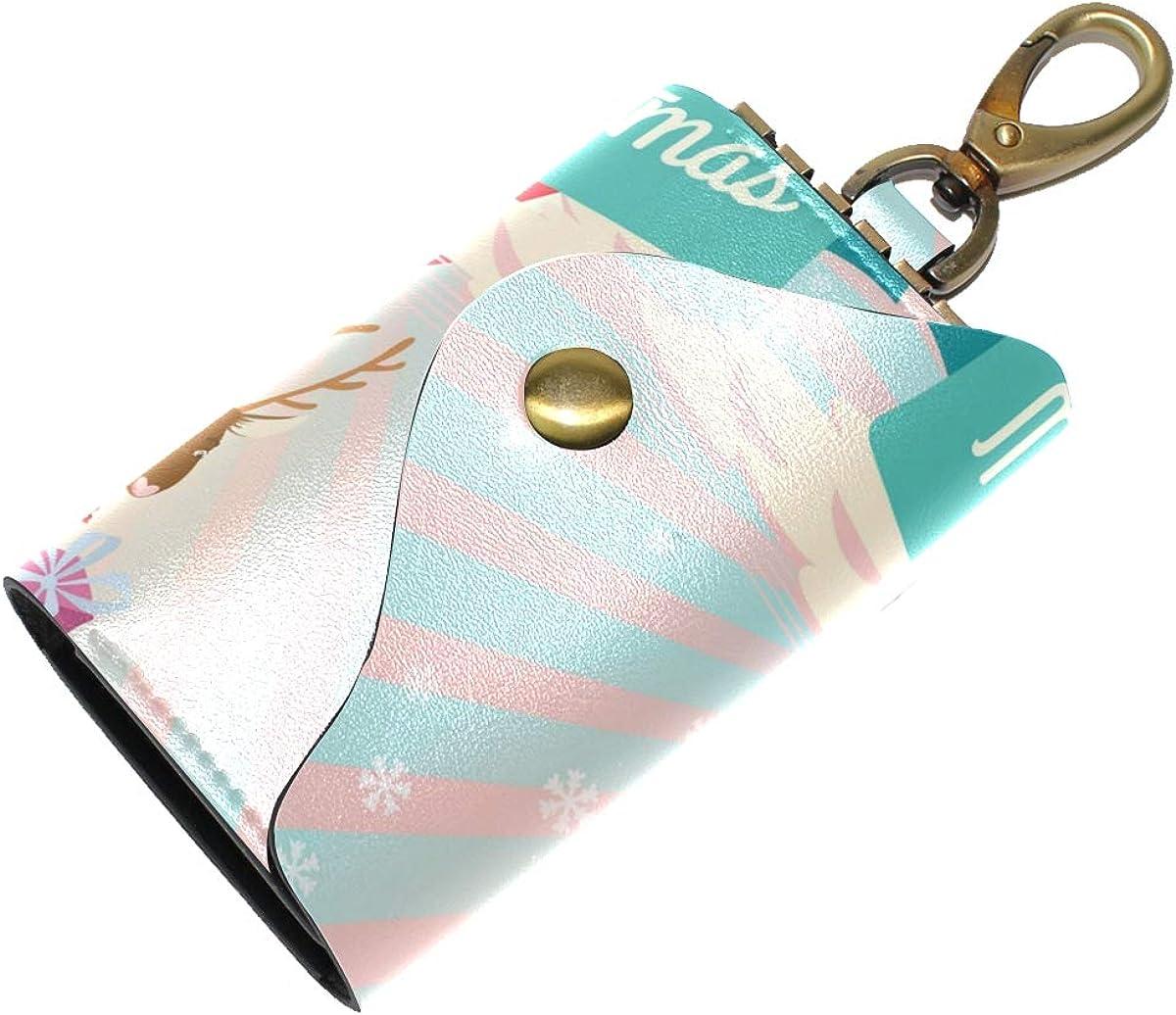 KEAKIA Wave Leather Key Case Wallets Tri-fold Key Holder Keychains with 6 Hooks 2 Slot Snap Closure for Men Women