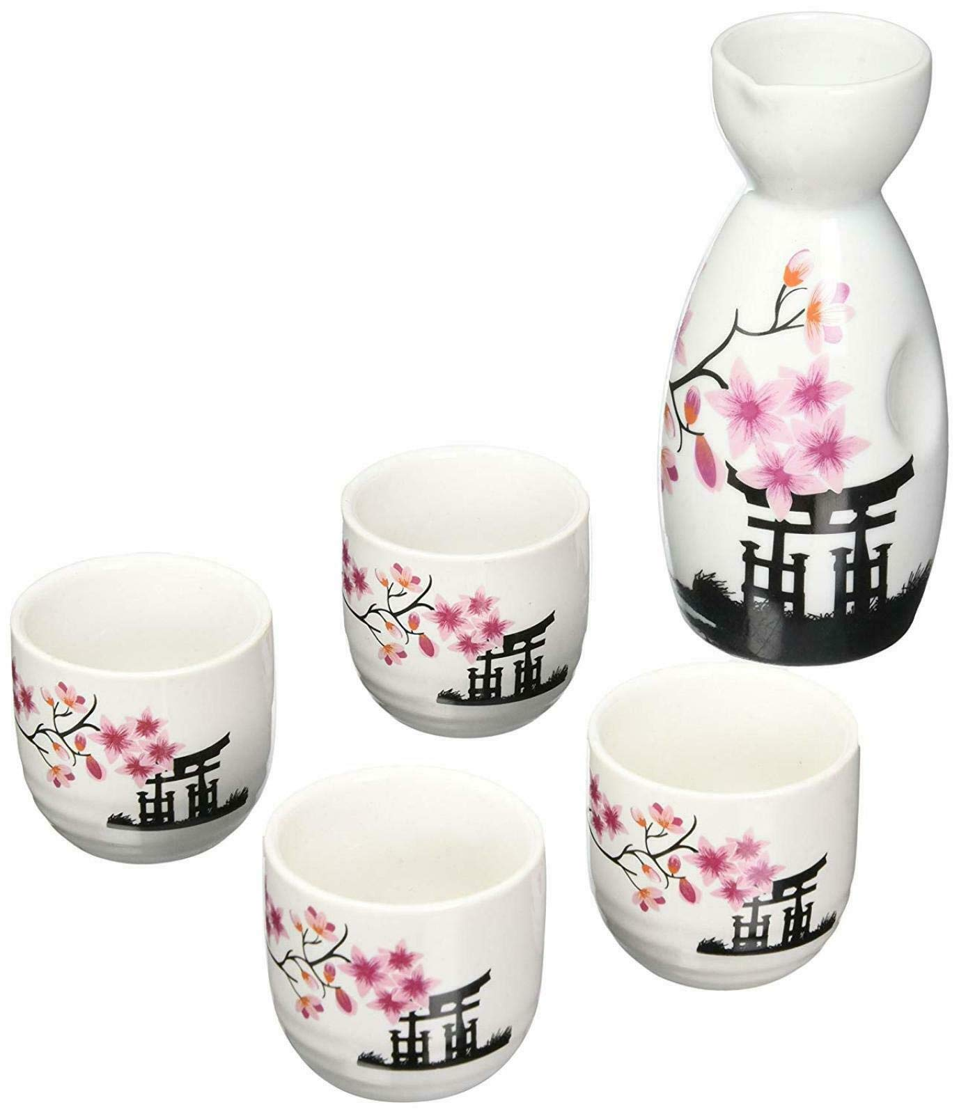 Japanese Cherry Blossom Sake Set - Includes 4 Ochoko (Cups) and 1 Tokkuri (Serving Bottle) in Gift Box by SciencePurchase