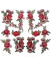 12 قطعة (6 أزواج) تطريز قماش مزخرف مزخرف بزهور من الدانتيل رقعة مطرزة DIY للملابس والجينز والملابس وما إلى ذلك (اللون A)