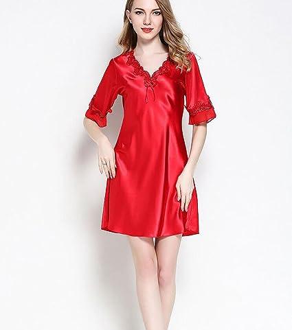 YiNan Camisón de Seda de Verano Mujer V Profundo Sexy Pijamas Ropa de Dormir