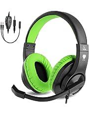 BlueFire Auriculares Gaming con Microfono para PS4 PC Xbox One, Cascos Gaming con Bass Surround Cancelacion Ruido,Diadema Acolchada y Ajustable,Microfono Unidireccional (Verde)