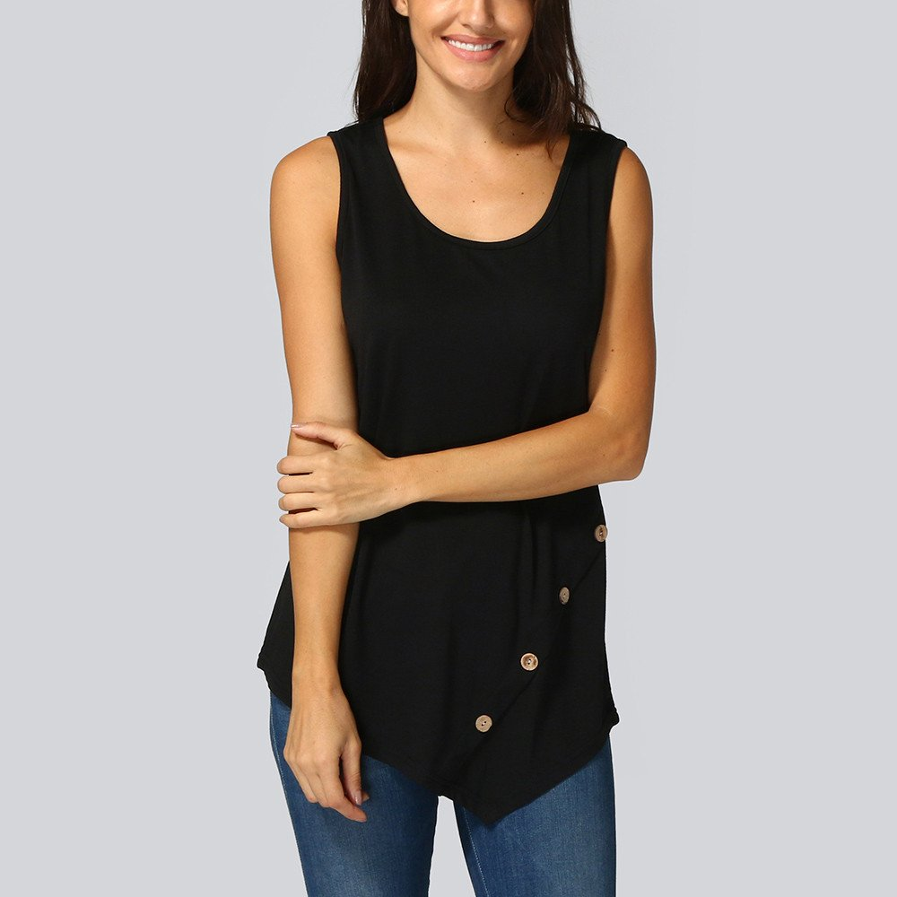 BXzhiri Women Tanks and Camis Sleeveless Loose Button Blouse Solid Color Round Neck Tunic T-Shirt Black by Bxzhiri_Women Tops (Image #3)