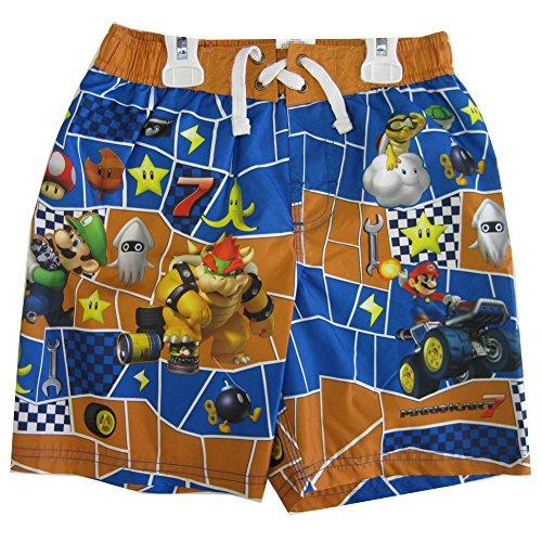 Mario Suit (Super Mario Little Boys Orange Blue Character Printed Swim Wear Shorts 7)