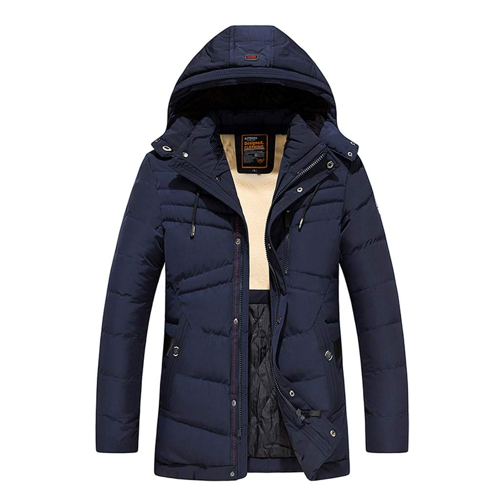 Benficial Men's Winter Mid-Length Pure Color Thickened Hoodie Cotton-Padded Jacket Coat Blue by Benficial