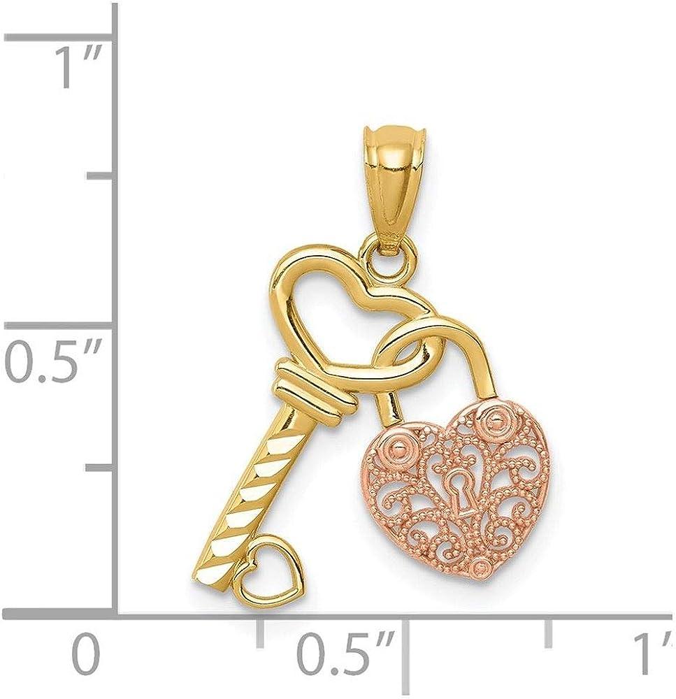 14K Two Tone Gold Diamond-Cut Key and Heart Charm Pendant