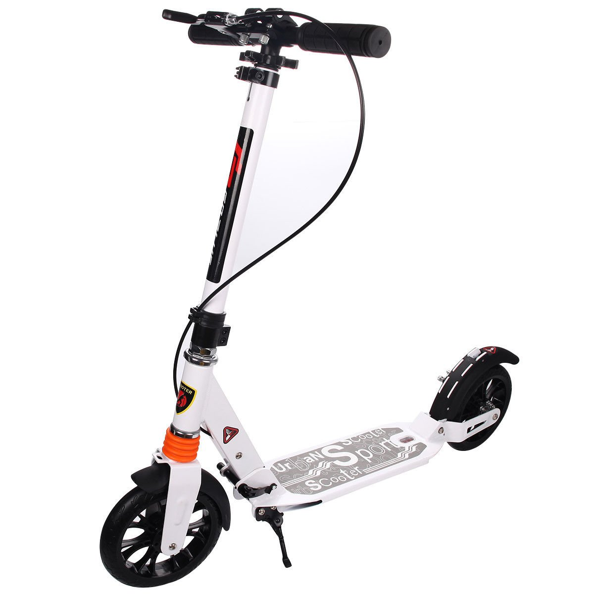 Goplus Folding Kick Scooter for Adult Teen Deluxe Aluminum 2 Big Rubber Wheels Glider Adjustable Height w/ Dual Suspension, 220lbs Capacity (White)