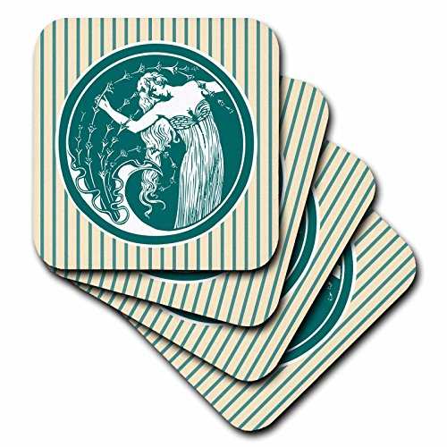 3dRose Russ Billington Nautical Designs - Art Nouveau Girl with Hair Caught in Seaweed and Dragonfly Dress - set of 4 Coasters - Soft (cst_262217_1)