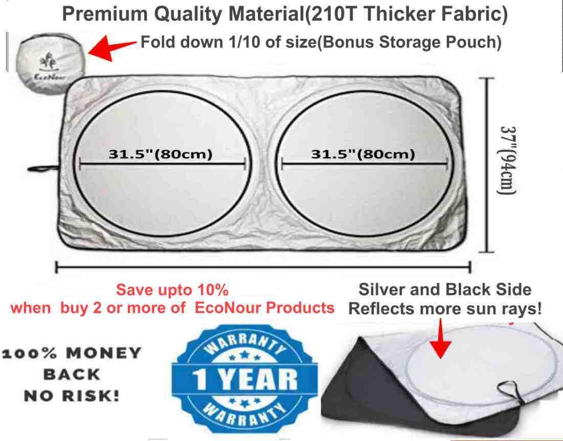 Blocchi Raggi UV Parasole per protezione visiera Standard 59 x 31 pollici EcoNour Parabrezza per auto Parasole