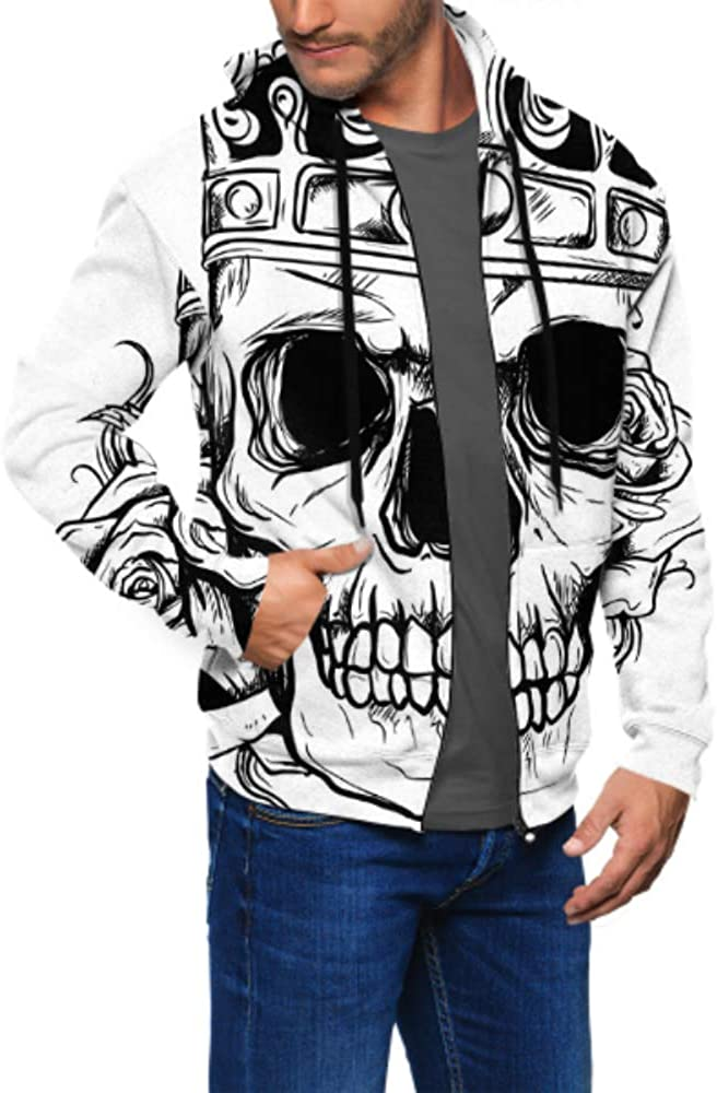 Long Sleeve Hoodie Print Human Skulls Line Art Jacket Zipper Coat Fashion Mens Sweatshirt Full-Zip S-3xl