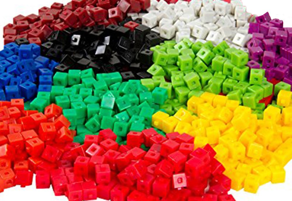 hand2mind Plastic, Assorted Colors, Linking Unit Cubes (Set of 1000)