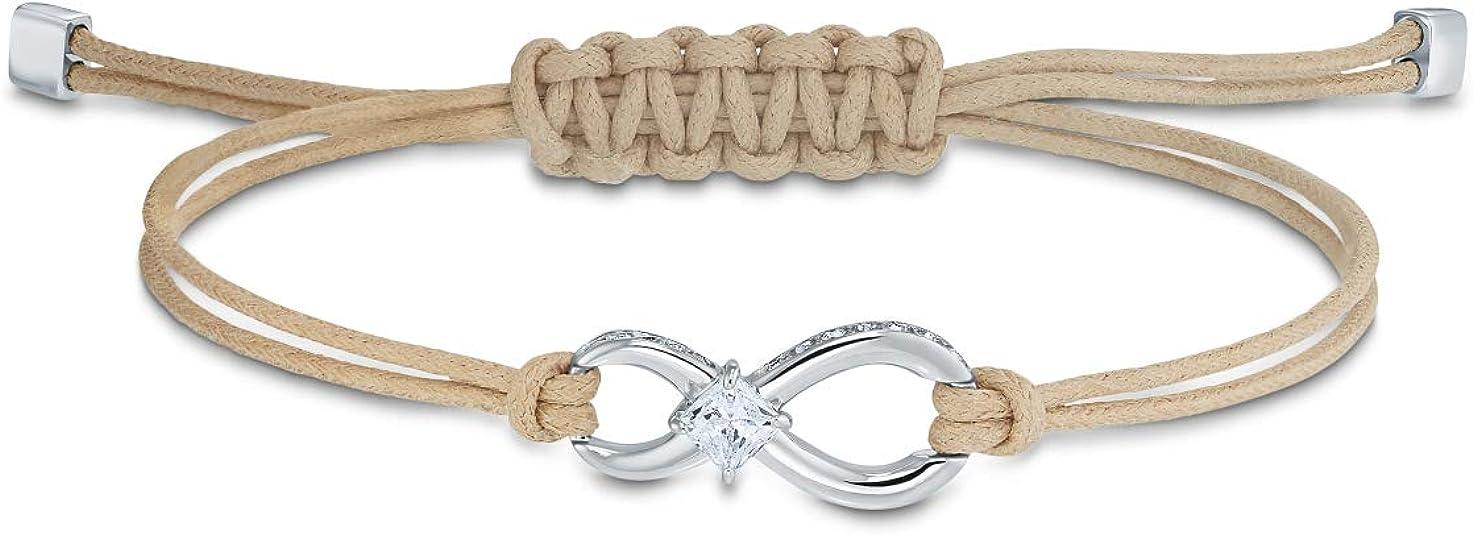 Amazon.com: Swarovski Infinity Bracelet, Beige, Rhodium plated ...