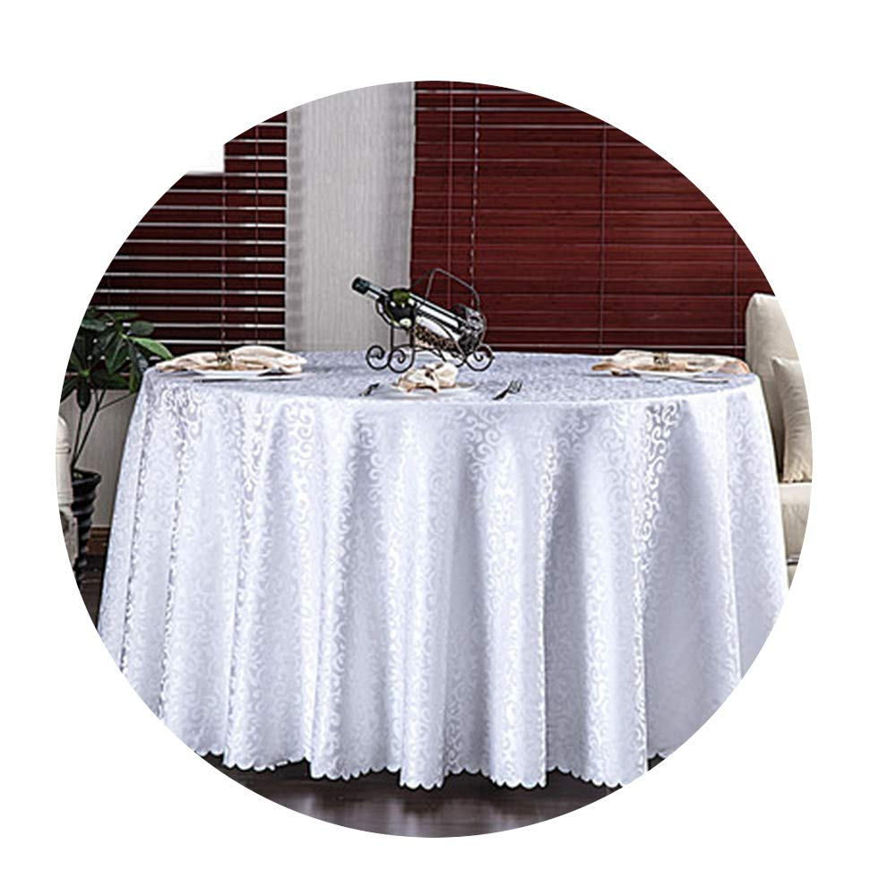 COOCOl Wedding Party Jacquard Polyester Fabric Solid Round Table Cloth Hotel Tablecloth Home Dining Table Cover,White,Round 300Cm