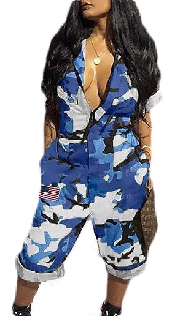HTOOHTOOH Women Deep V Neck Wide Leg Camo Short Sleeve Romper Jumpsuit