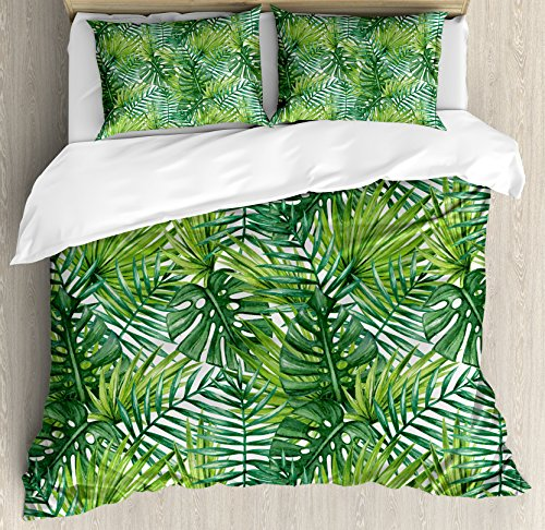 Leaf Duvet Cover Set Queen Size by Ambesonne, Tropical Exotic Banana Forest Palm Tree Leaves Watercolor Design Image, Decorative 3 Piece Bedding Set with 2 Pillow Shams, Light Green and Dark Green (Tree Furniture Banana)