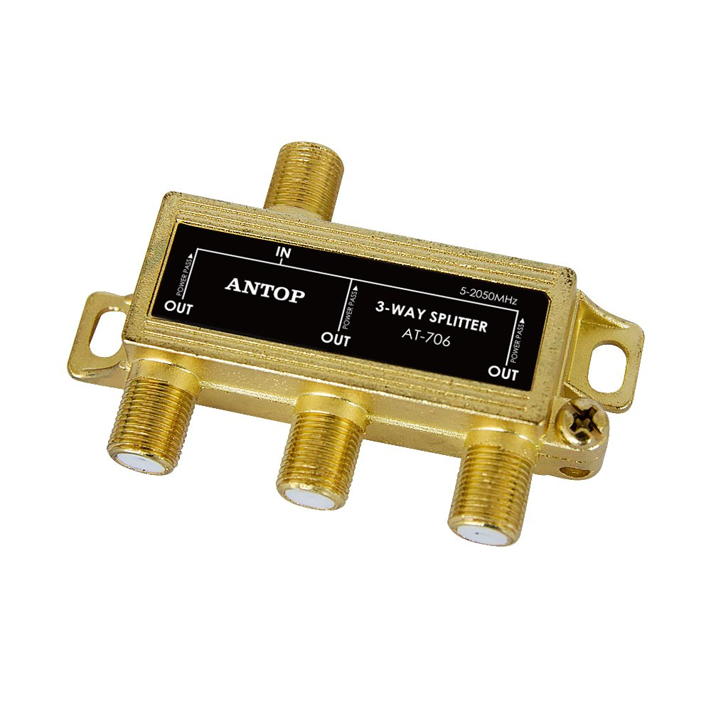 Antop 3-Way Coaxial Cable Gold Plated Splitter for Satellite TV Antenna Signals, Low-loss, All Port DC Power Passing …