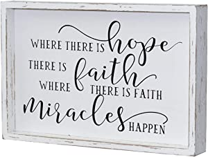 Parisloft Where There is Hope There is Faith Where There is Faith Miracles Happen Wood Wall Framed Sign, White Washed Wood Inspirational Wall Decor