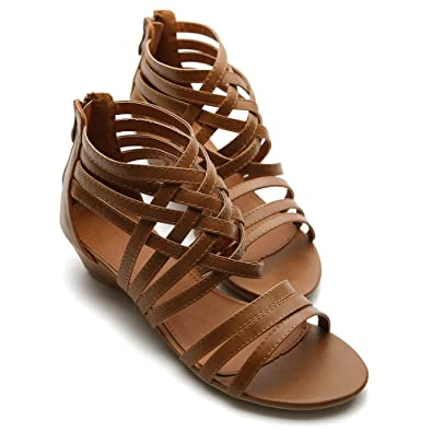 b594a74146f6 Ollio Womens Shoes Gladiator Wedge Low Heels Brown Sandals