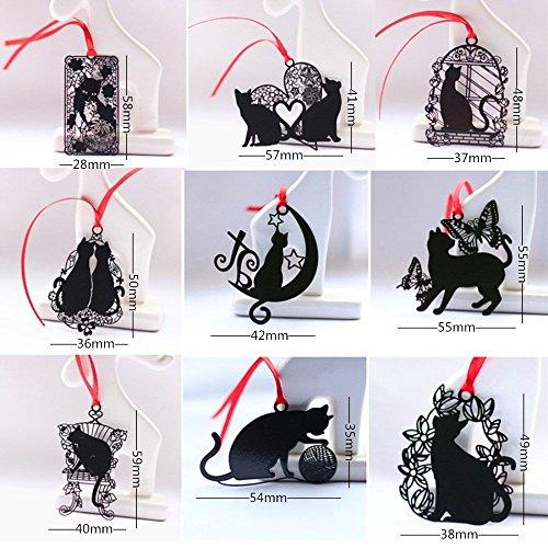 7color Alas Cute Animal Cartoon Cat magenetic Marcadores Creativo gato negro Metal Bookmark Con Rojo Correa, 9pcs Black Cat