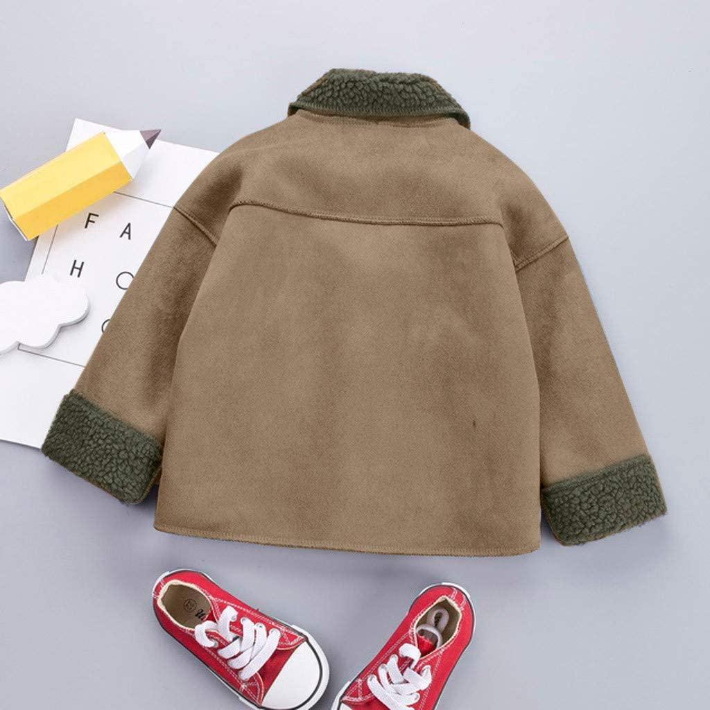Khaki,120 Fabal Fashion Kids Coat Boys Girls Thick Coat Padded Winter Jacket Clothes,Lightweight Windproof Outcoat for 1-7 Years