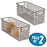 mDesign Household Wire Storage Organizer Bin Basket with Built-In Handles for Kitchen Cabinets, Pantry, Closets, Bedrooms, Bathrooms - 16' x 6' x 6', Pack of 2, Bronze