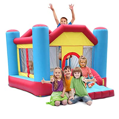 TiTa-Dong Inflatable Bounce House,Kids Indoor Outdoor Inflatable Castle Bounce House with Mesh Wall,Slide,Including Inflatable Castle,Patch Kit,Carrying Bag,8 Pcs Ground Stakes: Toys & Games